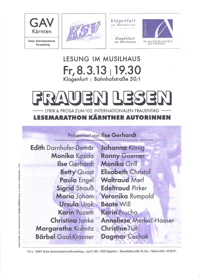 Frauentag 2013, Lesung Klagenfurt